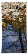 Water Leaves Stones And Branches Beach Towel