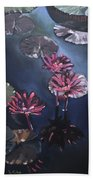 Water Lilies At Sunset Beach Towel