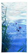 Water Lilies Blue Beach Towel