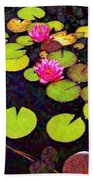 Water Lilies With Pink Flowers - Vertical Beach Towel