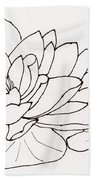 Water Lily Line Drawing Beach Towel