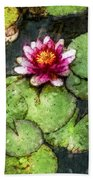 Water Lily Water Color Beach Towel