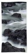 Water Over Rocks Beach Towel