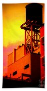 Water Tower With Orange Sunset Beach Towel