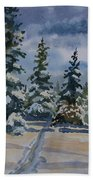 Original Watercolor - Colorado Winter Pines Beach Towel
