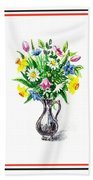 Watercolor Flowers Bouquet In Metal Pitcher Impressionism Beach Towel