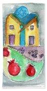 Watercolor Hamsa  Beach Towel by Linda Woods