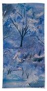 Watercolor - Icy Winter Landscape Beach Towel