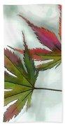 Watercolor Japanese Maple Leaves Beach Towel