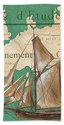 Watercolor Map 1 Beach Towel by Debbie DeWitt