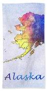 Watercolor Map Of Alaska      United States Beach Towel