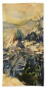 Watercolor Painting Machu Picchu Peru Beach Towel