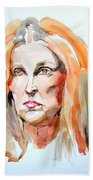 Watercolor Portrait Of A Mad Redhead Beach Towel