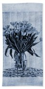 Watercolour Tulips In Blue Beach Towel