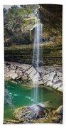 Waterfall At Hamilton Pool Beach Towel