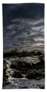 Waterfall At Sunrise Beach Towel by Bob Orsillo