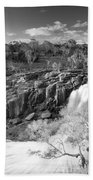 Waterfall Black And White Beach Towel
