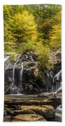 Waterfall In Autumn Beach Towel
