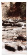 Waterfall In Sepia Beach Towel