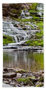 Waterfall In The Forest In Autumn Season  Beach Towel
