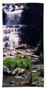 Waterfall Into The Stream Beach Towel