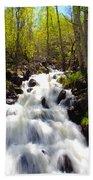 Waterfall Through The Aspens Beach Towel