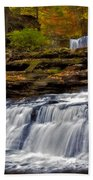 Waterfalls In The Fall Beach Towel by Susan Candelario