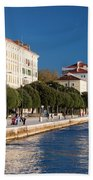 Waterfront Promenade In Zadar Beach Towel