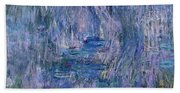 Waterlilies And Reflections Of A Willow Tree Beach Sheet