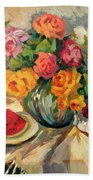 Watermelon And Roses Beach Towel