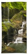 Watkins Glen Falls Beach Towel by Anthony Sacco