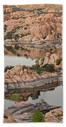 Watson Lake Sunset Beach Towel by Angie Schutt