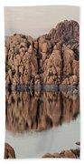 Watson Lake Tranquility Beach Towel by Angie Schutt