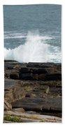 Wave Hitting Rock Beach Towel