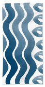 Waves And Pebbles- Abstract Watercolor In Indigo And White Beach Towel by Linda Woods