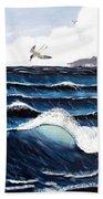 Waves And Tern Beach Towel