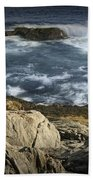 Waves Crashing Against The Shore In Acadia National Park Beach Towel