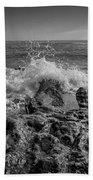Waves Crashing Bw Beach Towel