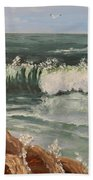 Waves Crashing Beach Towel