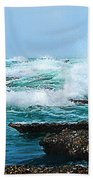 Waves Hitting Shore Beach Towel