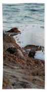 Waves Hitting The Rocks Beach Towel