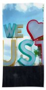 We Love Houston Texas Beach Towel