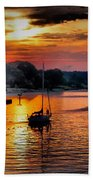 We Sail At Sunrise Beach Towel