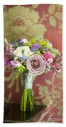 Wedding Bouquet And Vintage Wallpaper Beach Towel