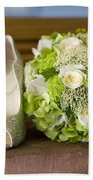 Wedding Shoes And Flowers Bouquet Beach Towel