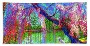 Weeping Beauty, Cherry Blossom Tree And Heron Beach Towel