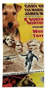 Welsh Terrier Art Canvas Print - North By Northwest Movie Poster Beach Towel