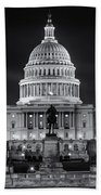 West Front Of The National Capitol Bw Beach Towel