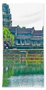 West Gallery From Across Moat In Angkor Wat In Angkor Wat Archeological Park Near Siem Reap-cambodia Beach Towel