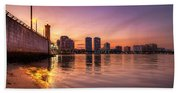 West Palm Beach Skyline At Dusk Beach Towel